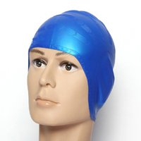 Wholesale Silicone Waterproof D Swimming Caps for Men Women Long Hair Swimming Hat Cover Ear Bone Pool