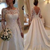 Wholesale Vintage Long Sleeve Lace White Ivory Wedding Dresses Applique Satin Chapel Train Bride Dress In Stock Bridal Ball Gowns vestido de novia