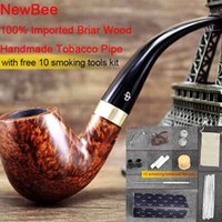Cheap NewBee Free 10 Smoking Tools Kit Briar Wood Handmade Smoking Pipes Men Bent Tobacco Pipe Metal Loop Decor with Cleaner Filter Rack aa0034