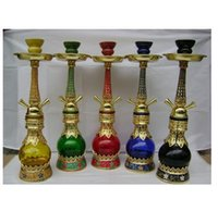 arabic tube - No Zinc Alloy Lotus twin tube Arabic hookah color random delivery glass hookah smoking pipe Glass gongs oil rigs glass bongs glass