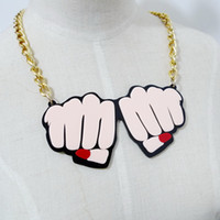 Wholesale Fashion Hip Hop Club Jewelry Accessories Personality Metal Gold Chain Acrylic Fist Women Choker Necklace
