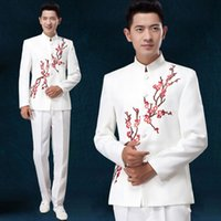 Wholesale Chinese Tunics Costume - Wholesale-S-XXXL! 2016 New Men's clothing male chinese tunic suit costume suit set youth loading formal dress Stage SInger costumes