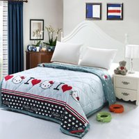 Wholesale New single and double summer quilts cat cartoon colors home and bedroom use handmade soft bedspread