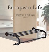 bathroom towel stands - Berserk European Style Black chrome free standing warmer bars rack Rail Doual Bar set Towel Holder Bathroom Accessories