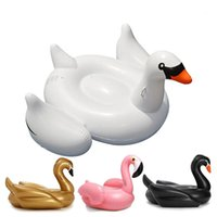 Wholesale 190CM Leisure Giant Swan Pool Float Inflatable Color White Glod Black For Adult Outdoor Water Sport Swimming Tubes with DHL Shipping