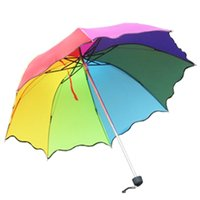 automatic lotus - 2015 Real Time limited free Umbrellas Womens Ladies Flouncing Princess Dome Parasol Rain Folding Lotus Leaves Wave rainbow
