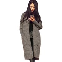 Wholesale Christmas Trench Coat For Women Pocket Knitted Women Long Cardigans Oversized Cardigans Winter Thickness Poncho Coat Femme