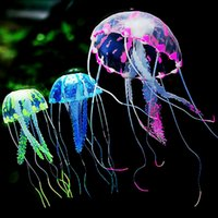 Wholesale cm Artificial Glowing Jellyfish with Sucker Fish Tank Aquarium Decoration Aquariums Ornaments Accessories Colors