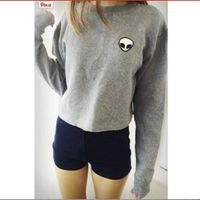 alien hoodies - Embroidery ET Aliens Hoodies Sweatshirts harajuku Crew neck Sweats Women Clothing Feminina Loose Short Fleece Jumper Sweats