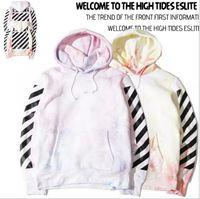 Cheap 2016 Off White Virgil Abloh kanye west men flannel hoodie pyrex hoody sweatshirt tie-dye stripe 13 Moleton Masculino coat