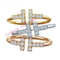 Wholesale Hot sale T shape finger ring Women zircon sterling silver finger ring brand Lady Luxury Finger Rings