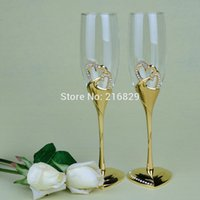 base flute - China post air mail Wedding Toasting Flutes Gold Metal Heart Shaped Base Diamond Double Heart