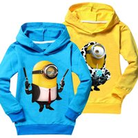 Wholesale 2017 Despicable me minions D Printed kids hoodies outwear baby girl clothes boys sweatshirts long sleeve hooded children clothing MC0416