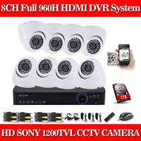 Precio de Sistema de seguridad de la bóveda del ccd-CIA- Cúpula Blanca SONY CCD 1200TVL Cámara 8ch CCTV Sistema 8CH 960H CCTV DVR Kit Sistema de Cámaras de Seguridad P2P 1080P Salida HDMI 1 TB HDD