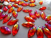 Wholesale sew on rhinestones red AB colour gem stones mm navette shape crystal flatback for dress