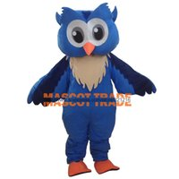 Gros-Professinal New Big Blue Owl Costume Mascot Fancy Cartoon Dress Costume Taille adulte