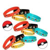 Wholesale Poke pokémon go Silicone Bracelets toys color Children Poke Ball Sylveon Pikachu Charmander Bulbasaur Jeni turtle Bracelets