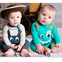 baby onesies lot - 2016 Newborn Cartoon Rompers Autumn Monster Pinted Bodysuit Onesies For Baby Cute Long Sleeve Cotton Jumpsuit Clothes