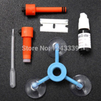 Wholesale Newest DIY Car Automobile Windshield Repair Kit tools Auto Glass Windscreen Repair Set Give Door Handle Protective Stickers