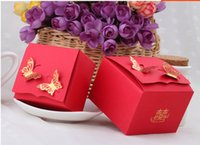 Wholesale Square Red Paper Candy Box Laster God Butterfly piece China Style Paper Wedding Favor Holder Wedding Supplies