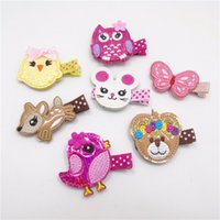 bear hair clip - PU Leather Cartoon Animal Hair Clip Glitter Chicken Rabbit Birthday Hairpin Cute Butterfly Bird Owl Deer Bear Barrette Pretty Pet Hair Grips