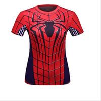 batman t shirts women - Female Marvel Superheroes Superman Captain America Spiderman Batman T Shirts Women Bodybuilding Compression Casual Tee Tops