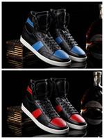 Precio de Hombres zapatos nuevos estilos-2017 nuevos zapatos rojos de los hombres de los royaums del santo del nuevo estilo zapatos de cuero reales del pitón zapatos rojos del negro de la marca de fábrica de los hombres azules rojos del pitón eur 38-46