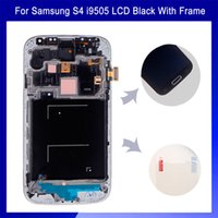 Wholesale White Dark Blue LCD Display Digitizer Touch Screen Digitizer Frame Assembly Free Tools With Logo For Samsung S4 i9505 i9500