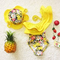 Wholesale one piece swimsuit floral swimming suit for kids girl toddler girl bathing suits fashion kids swimwear with swimming cap ZA0058