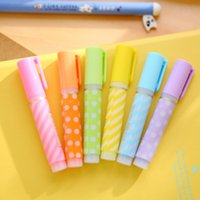 Wholesale candy color dot highlighter pen copic marker pens stationery material escolar papelaria school supplies