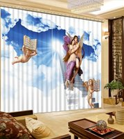 Wholesale Europe style Curtain High Quality Costom Modern Home Decor Living Room Natural Art curtains modern curtains for bedroom mordern style angel