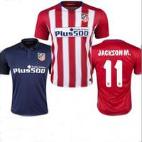 Wholesale 2015 GRIEZMANN Atletico Madrid jerseys Godin Gabi Madrides house red from blue Koke VIETTO shirt