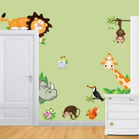 Wholesale Cute Animal Live in Your Home DIY Wall Stickers Home Decor Jungle Forest Theme Wallpaper Gifts for Kids Room Decor Sticker