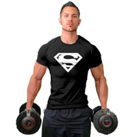Wholesale 2016 Cotton T shirt For Men Superman T shirts mens fitness shirts Short Sleeve Tees Black White Red Blue Orange