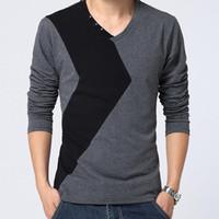 v neck tee shirts - Retail Mens T Shirt Slim Fit V neck Button T shirt Men Long sleeve Shirt Casual tshirt Tee Tops Mens Short Shirt Size M XL