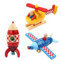 Wholesale 2016 Children Favorite New Bauble Kid fashion Wood Magnetic Plane Helicopter Rockets Toy Wooden Transportation Educational Toys