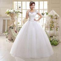 Wholesale Ball Gown Princess Lace Wedding Dresses Cheap A Line Scoop Organza Brides Dresses Bridal Gowns