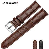 Wholesale SINOBI Brown MM MM Durable One Sweatband Watch Men cowhide Leather Strap Watchband Steel Buckle Wrist Women Watches Bands