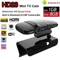 Wholesale Free DHL HD23 Allwinner H3 Quad Core GB GB MP Camera Android TV Box P Smart Mini Pc Skype Video Phone With HDMI Output Wi Fi HD22