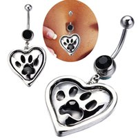 bar dangle - 10pcs New Fashion Body Jewelry Silver Plated Dangle Heart Sexy Piercing Bear s paw Navel Belly Rings Navel Bar Button Rings