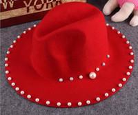 Femmes Solid Color Large Brim Fedora Chapeaux Femme Trilby Panama Chapeau avec Perle Décoré Mode hiver Laine Fedora Caps