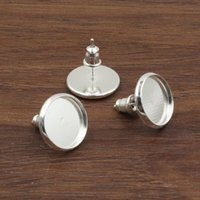 bezel set earrings - 12mm mm mm Inner Size Copper Silver Earrings Blank Setting Bezel Blank Cabochon Ring Base For DIY Ring K05122