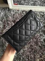 Wholesale C fashion small wallet original caviar calfskin black color