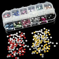 Wholesale Mix Color mm Circle Beads Nail Art Tips Rhinestones Glitters Acrylic UV Gel Gems Decoration with Hard Case