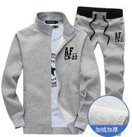 Wholesale Men Track Suit Cotton Fleece hoodies sweatshirts sports suit Stand Collar Casual Sports Coat Sweat Suit For Men M XXXL