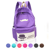 Wholesale 2016 New Design Fashion Mustache School Bags For Teenagers Canvas Women Backpack College Student School Book Bag Mochila Escolar