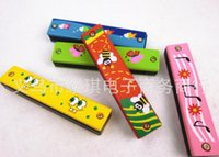 Wholesale New Colorful Educational Musical Wooden Painted Harmonica Instrument Toy for Kids Children Gift Randomly Kid high quality