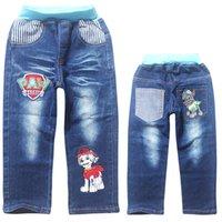 Wholesale Colors Dog Paw Kids Jeans Boys Denim Pants Gilrs Long Jeans Cartoon Kids Denim Trousers T Kids Clothes LA248