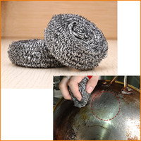 Wholesale Stainless Steel Dish Bowl Cleaning Spiral Scourers Scouring Pad Useful Kitchen Tool Steel Wire Cleaning Ball Brush