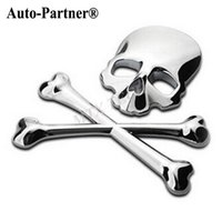 Wholesale 3D M Skull Metal Skeleton Crossbones Car Motorcycle Sticker Label Skull Emblem Badge car styling stickers accessories decal